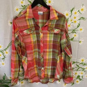 Columbia pink and green plaid button down